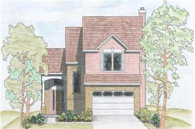 3-Bedroom, 1582 Sq Ft Contemporary Home Plan - 136-1022 - Main Exterior