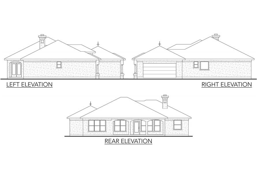 Home Plan Rear Elevation of this 3-Bedroom,1845 Sq Ft Plan -136-1023