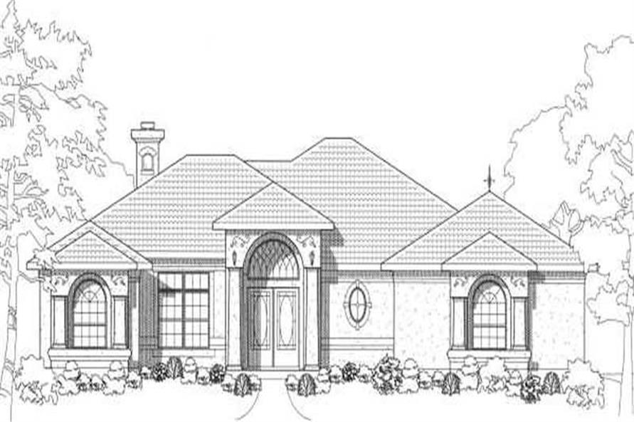 Home Plan Front Elevation of this 3-Bedroom,1845 Sq Ft Plan -136-1023