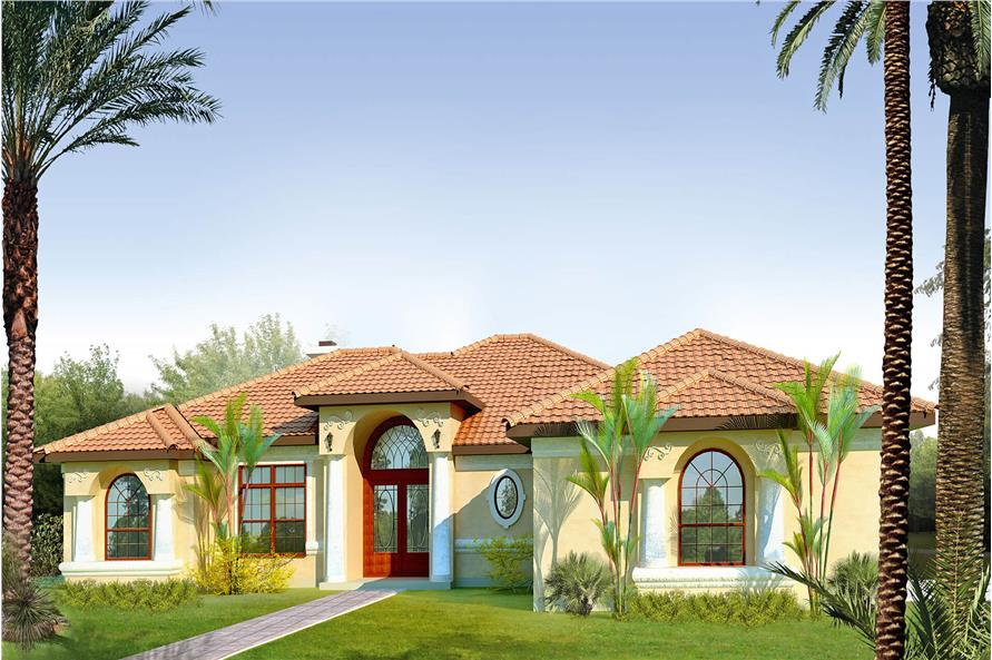Front elevation of Mediterranean home (ThePlanCollection: House Plan #136-1023)
