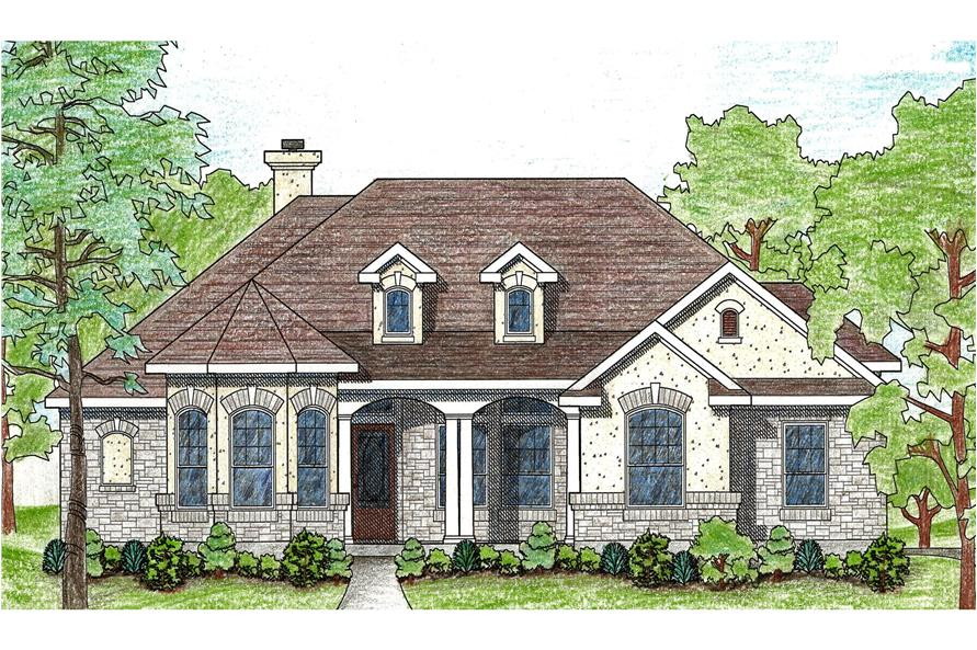 4-Bedroom, 1889 Sq Ft French House Plan - 136-1024 - Front Exterior