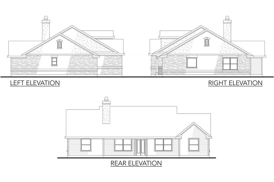136-1026: Home Plan Rear Elevation and Side Elevations