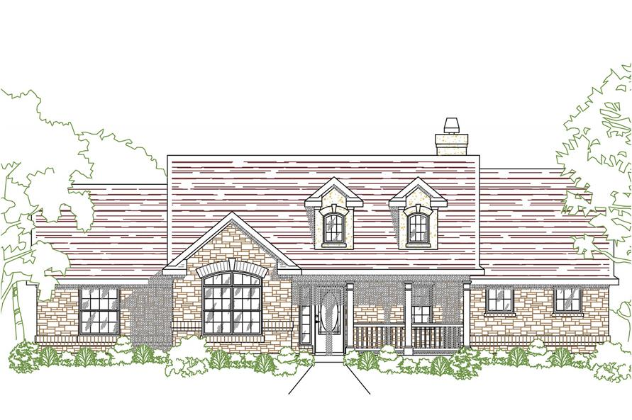 Front elevation of Ranch home (ThePlanCollection: House Plan #136-1026)