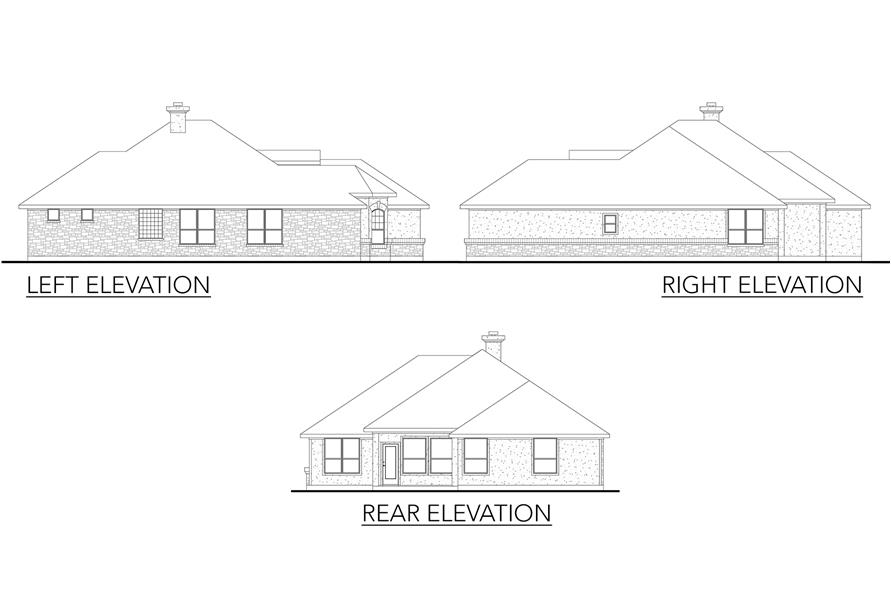 136-1027: Home Plan Rear Elevation