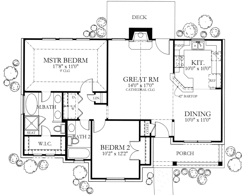 Texas Style Home Plan 2 Bedrms 2 Baths 1092 Sq Ft