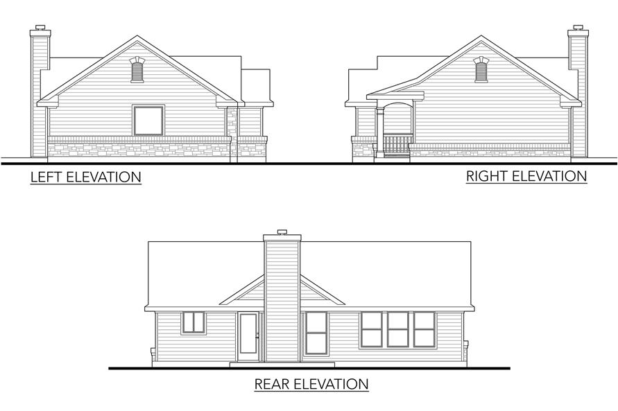 Home Plan Left Elevation of this 2-Bedroom,1092 Sq Ft Plan -136-1028