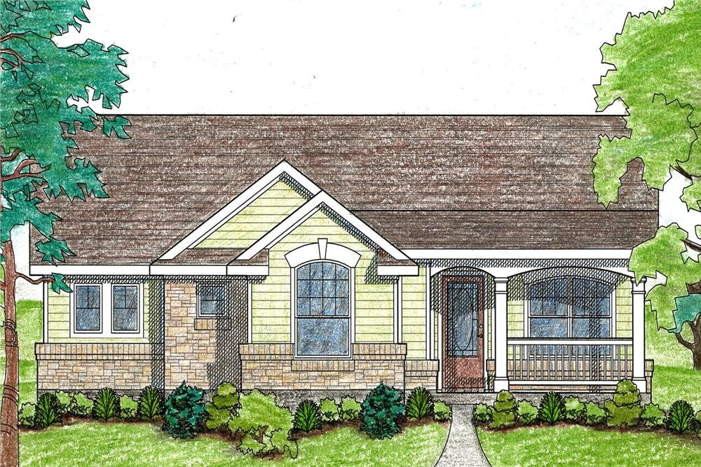 Front elevation of Texas Style home (ThePlanCollection: House Plan #136-1028)