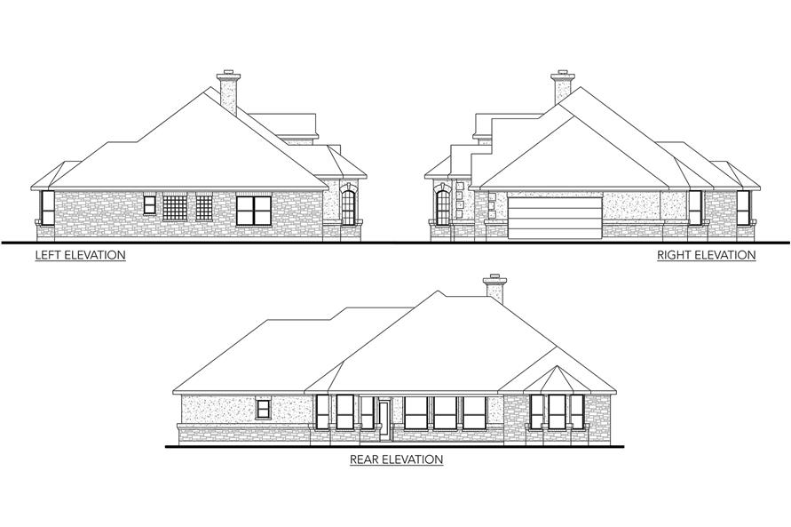 Home Plan Left Elevation of this 3-Bedroom,2014 Sq Ft Plan -136-1029