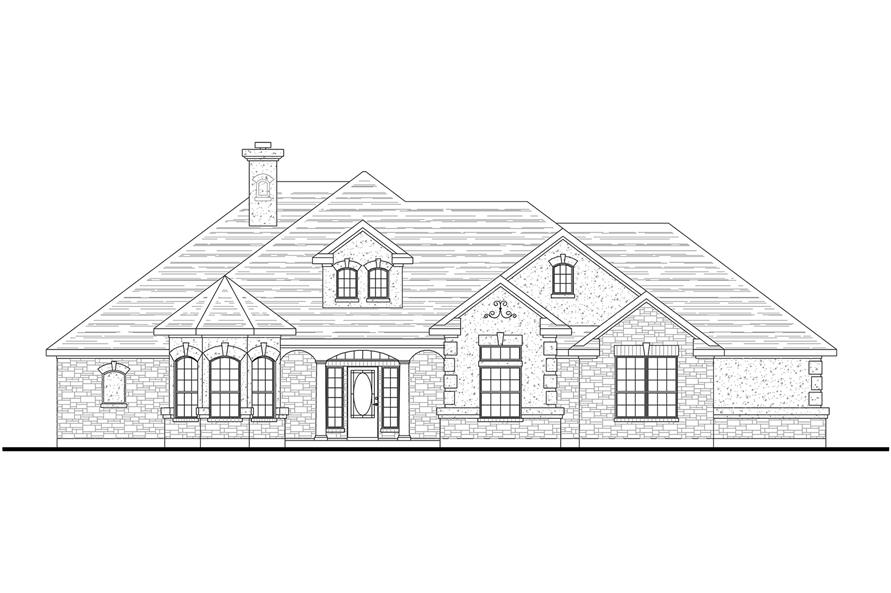 Home Plan Front Elevation of this 3-Bedroom,2014 Sq Ft Plan -136-1029