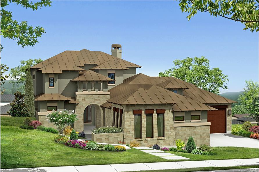 Home Plan Front Elevation of this 4-Bedroom,3716 Sq Ft Plan -136-1030