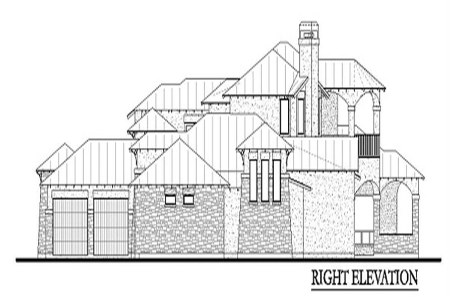 Home Plan Right Elevation of this 4-Bedroom,3716 Sq Ft Plan -136-1030