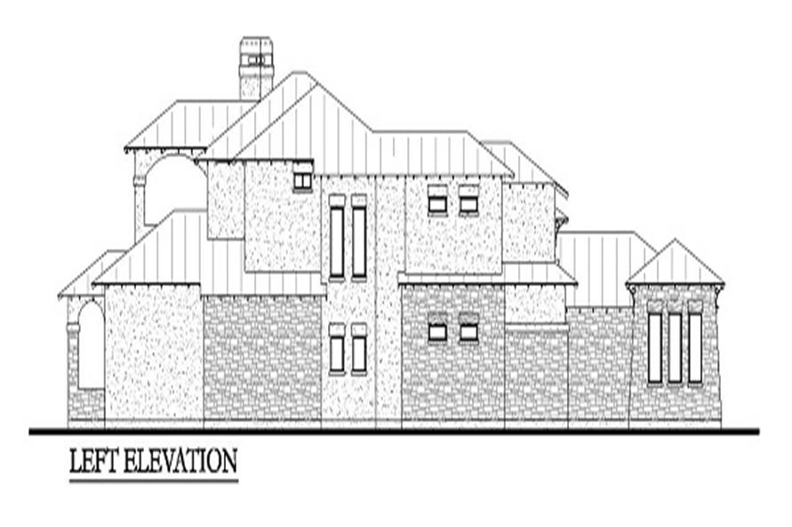 Home Plan Left Elevation of this 4-Bedroom,3716 Sq Ft Plan -136-1030