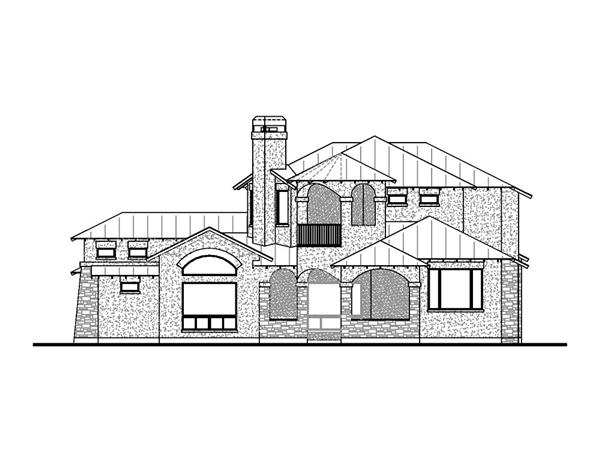 136-1030 house plan rear elevation