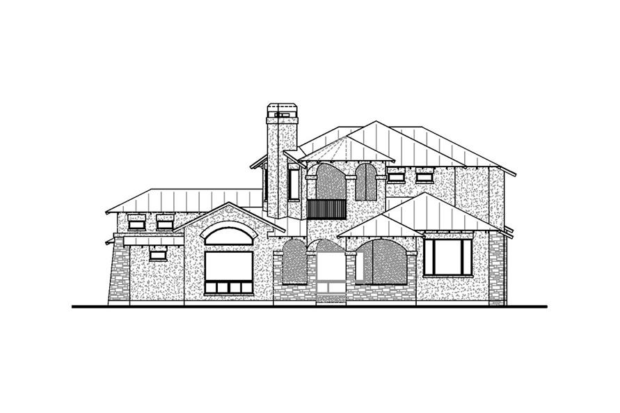 Home Plan Rear Elevation of this 4-Bedroom,3716 Sq Ft Plan -136-1030
