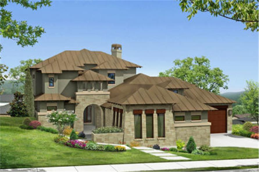 136-1030 house plan front rendering