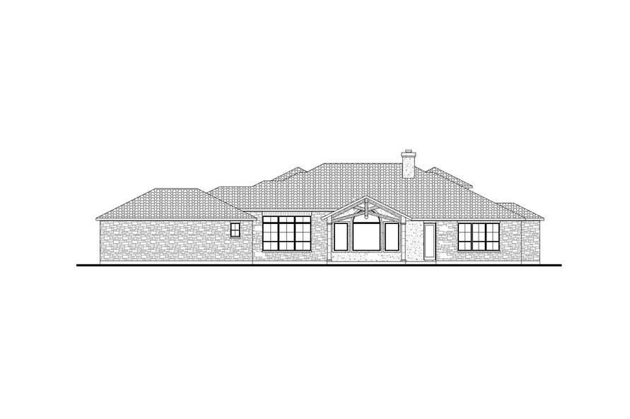 Home Plan Rear Elevation of this 3-Bedroom,2504 Sq Ft Plan -136-1031