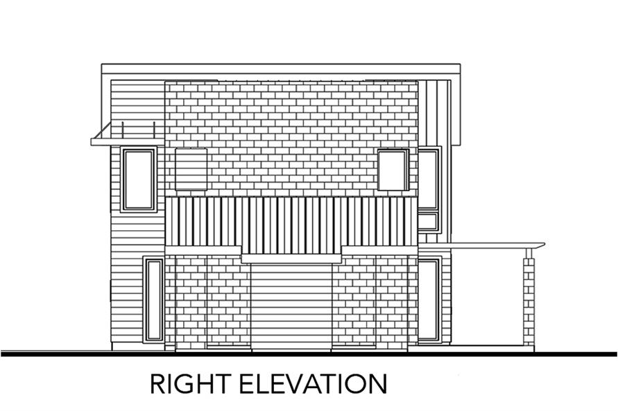 Home Plan Right Elevation of this 2-Bedroom,1227 Sq Ft Plan -136-1032