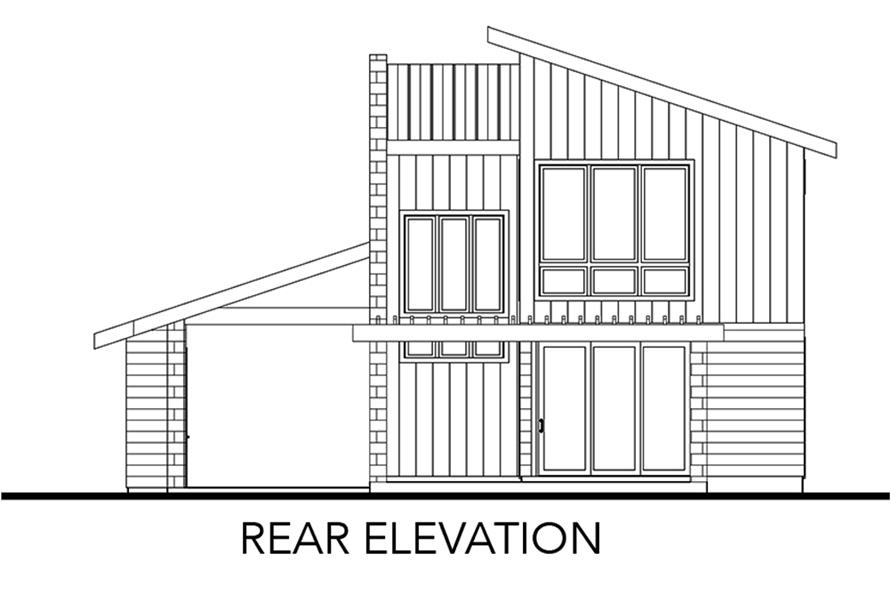 Home Plan Rear Elevation of this 2-Bedroom,1227 Sq Ft Plan -136-1032