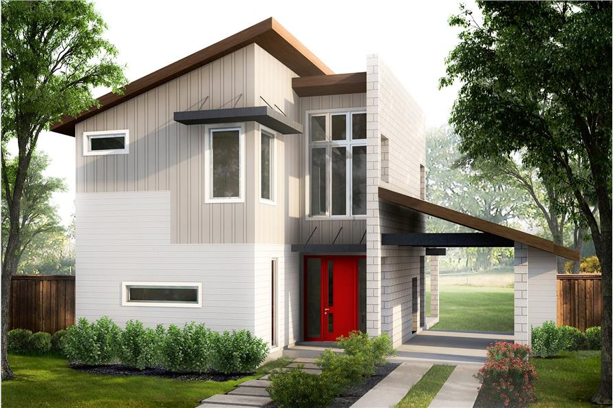 2-Bedroom, 1227 Sq Ft Contemporary House Plan - 136-1032 - Front Exterior