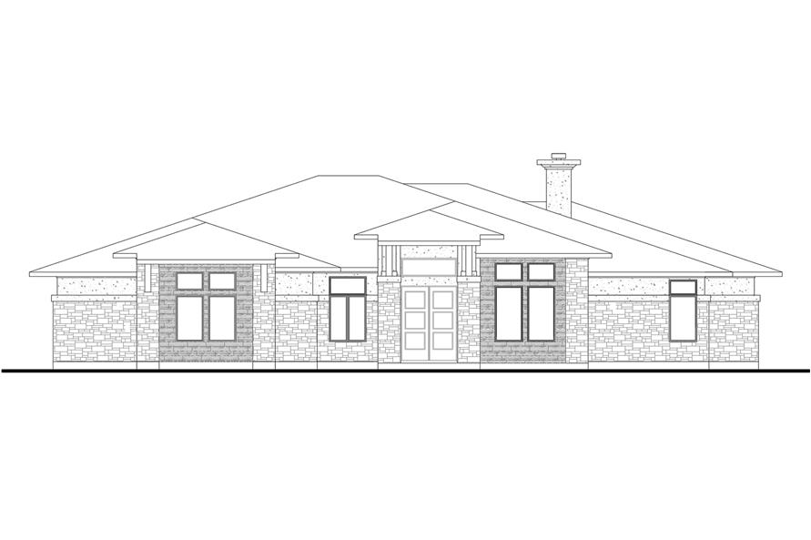 Home Plan Front Elevation of this 5-Bedroom,3322 Sq Ft Plan -136-1033
