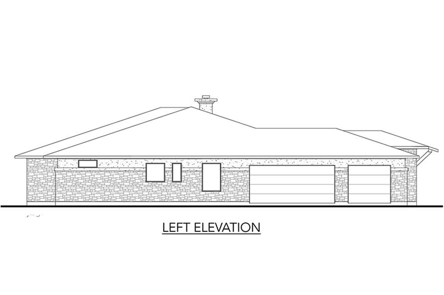 Home Plan Left Elevation of this 5-Bedroom,3322 Sq Ft Plan -136-1033