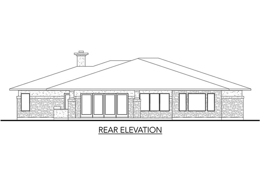 Home Plan Rear Elevation of this 5-Bedroom,3322 Sq Ft Plan -136-1033