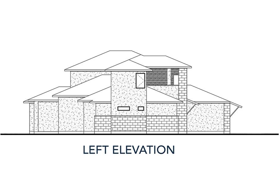 Home Plan Left Elevation of this 4-Bedroom,3727 Sq Ft Plan -136-1035