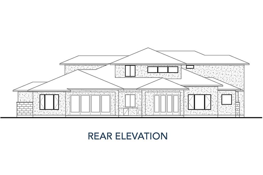 Home Plan Rear Elevation of this 4-Bedroom,3727 Sq Ft Plan -136-1035