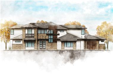 4-Bedroom, 3727 Sq Ft Contemporary Home Plan - 136-1035 - Main Exterior