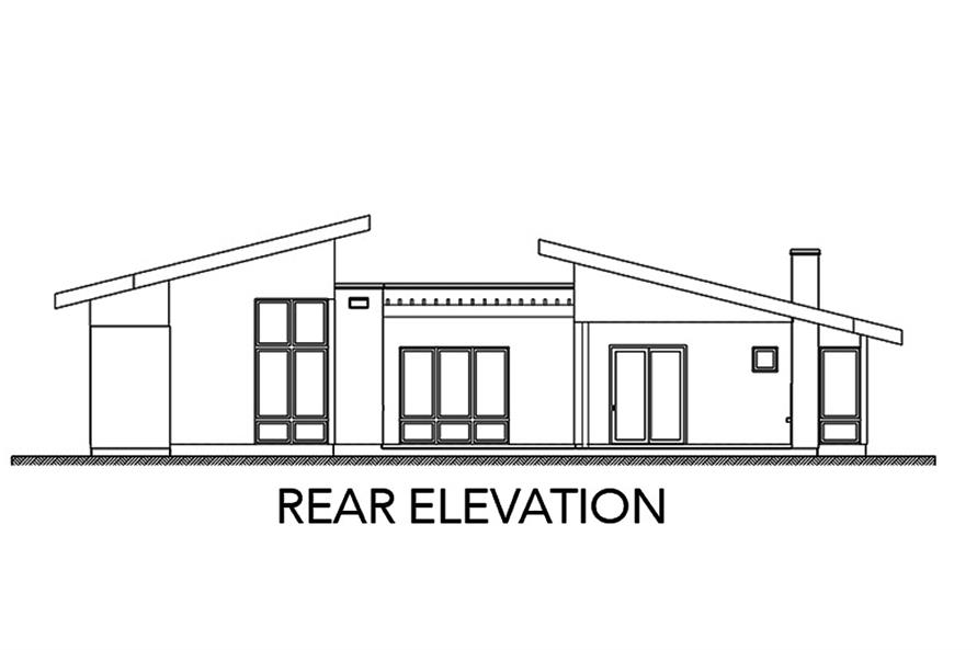 Home Plan Rear Elevation of this 3-Bedroom,2002 Sq Ft Plan -136-1036