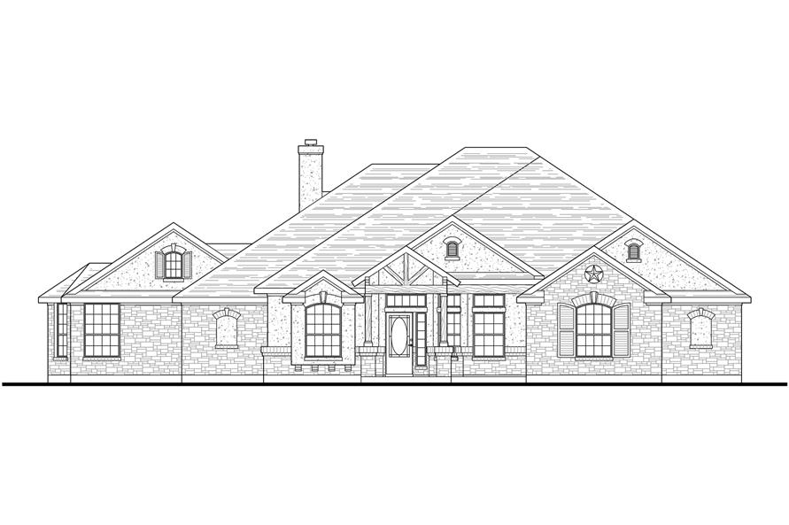 Home Plan Front Elevation of this 4-Bedroom,2772 Sq Ft Plan -136-1037