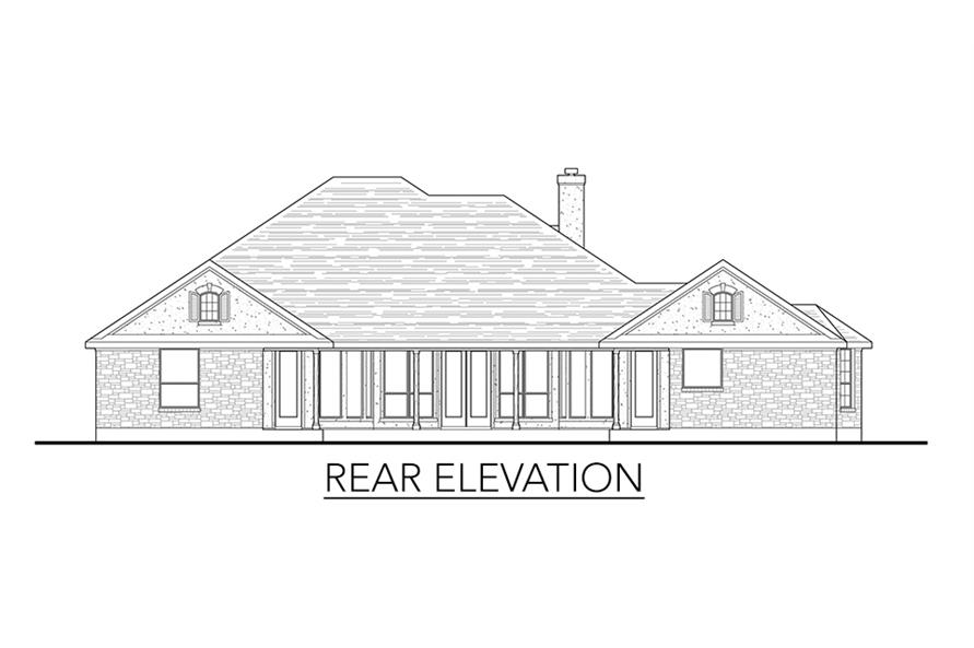 Home Plan Rear Elevation of this 4-Bedroom,2772 Sq Ft Plan -136-1037