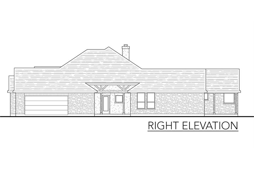 Home Plan Right Elevation of this 4-Bedroom,2772 Sq Ft Plan -136-1037