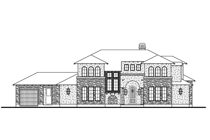 Home Plan Front Elevation of this 5-Bedroom,3585 Sq Ft Plan -136-1039
