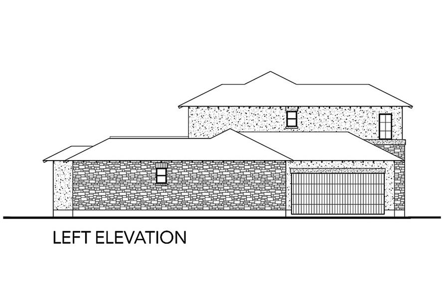 Home Plan Left Elevation of this 5-Bedroom,3585 Sq Ft Plan -136-1039