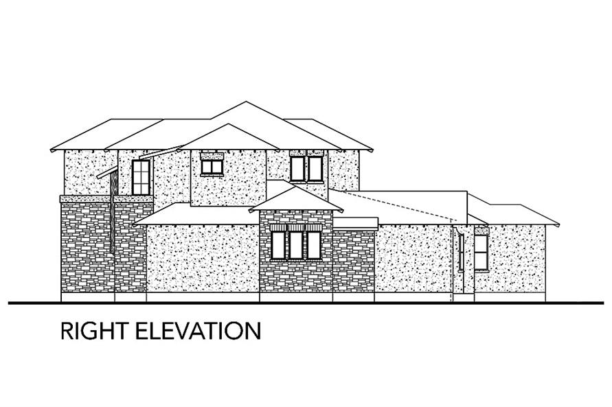 Home Plan Right Elevation of this 5-Bedroom,3585 Sq Ft Plan -136-1039