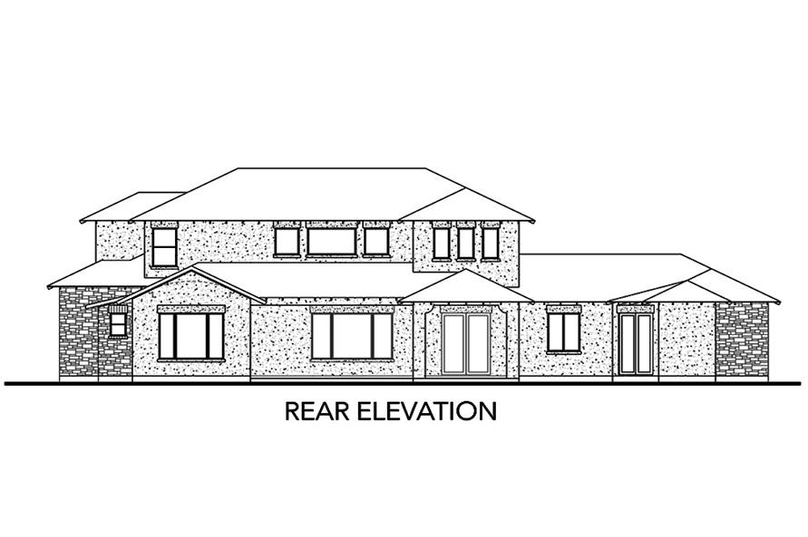 Home Plan Rear Elevation of this 5-Bedroom,3585 Sq Ft Plan -136-1039