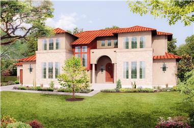 5-Bedroom, 3585 Sq Ft Mediterranean Home Plan - 136-1039 - Main Exterior