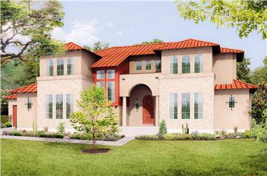 Front elevation of Mediterranean home (ThePlanCollection: House Plan #136-1039)