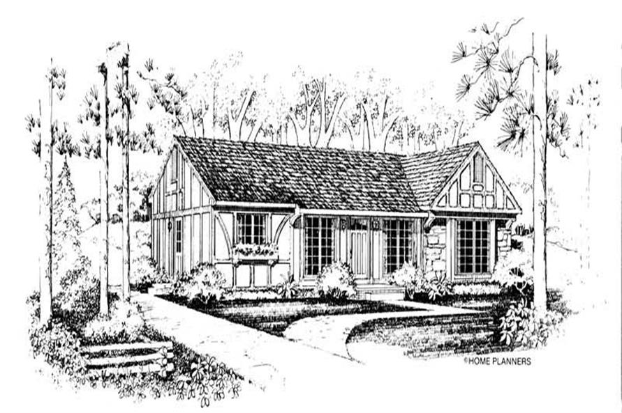 3-Bedroom, 1375 Sq Ft European Home Plan - 137-1003 - Main Exterior