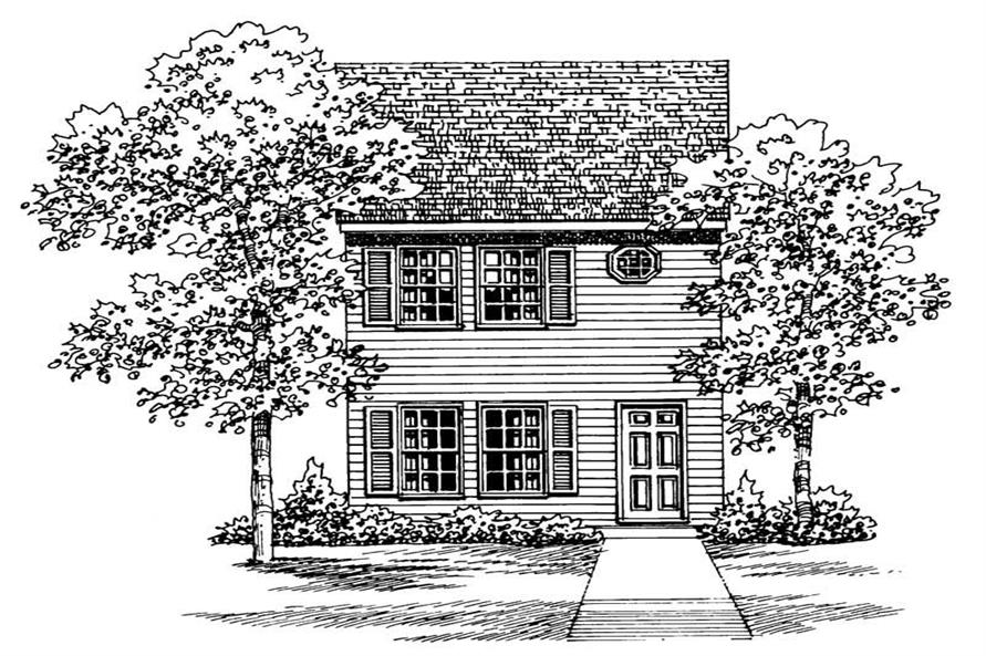 Home Plan Front Elevation of this 2-Bedroom,1067 Sq Ft Plan -137-1007