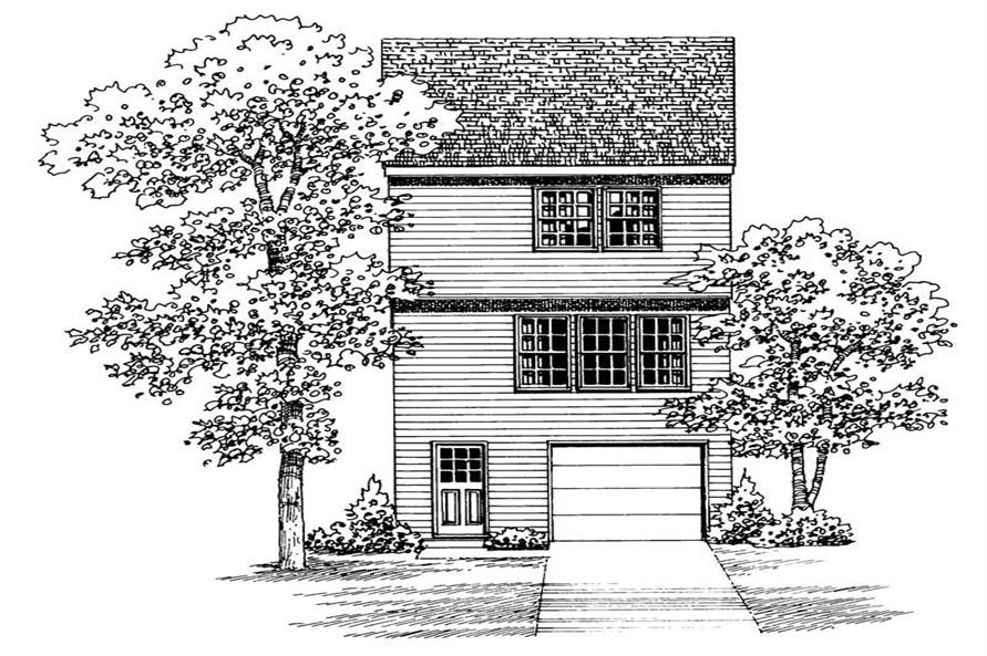 Home Plan Rear Elevation of this 2-Bedroom,1067 Sq Ft Plan -137-1007