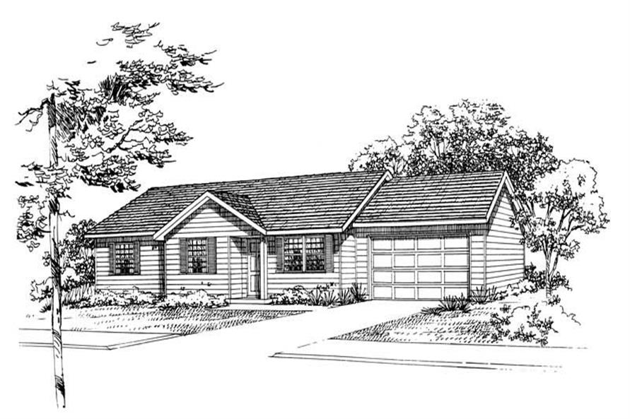 3-Bedroom, 982 Sq Ft Country House Plan - 137-1015 - Front Exterior