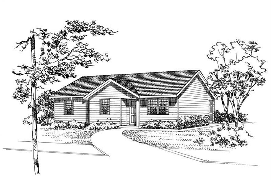 Home Plan Front Elevation of this 3-Bedroom,982 Sq Ft Plan -137-1015
