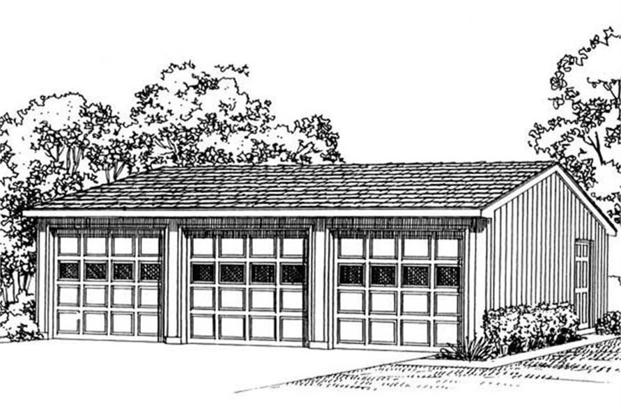 Rendering of Garage plan (ThePlanCollection: House Plan #137-1017)