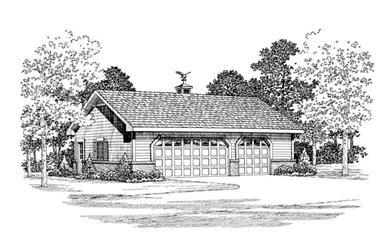 1-Bedroom, 900 Sq Ft Garage Home Plan - 137-1018 - Main Exterior