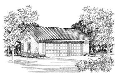 1-Bedroom, 900 Sq Ft Garage Home Plan - 137-1020 - Main Exterior