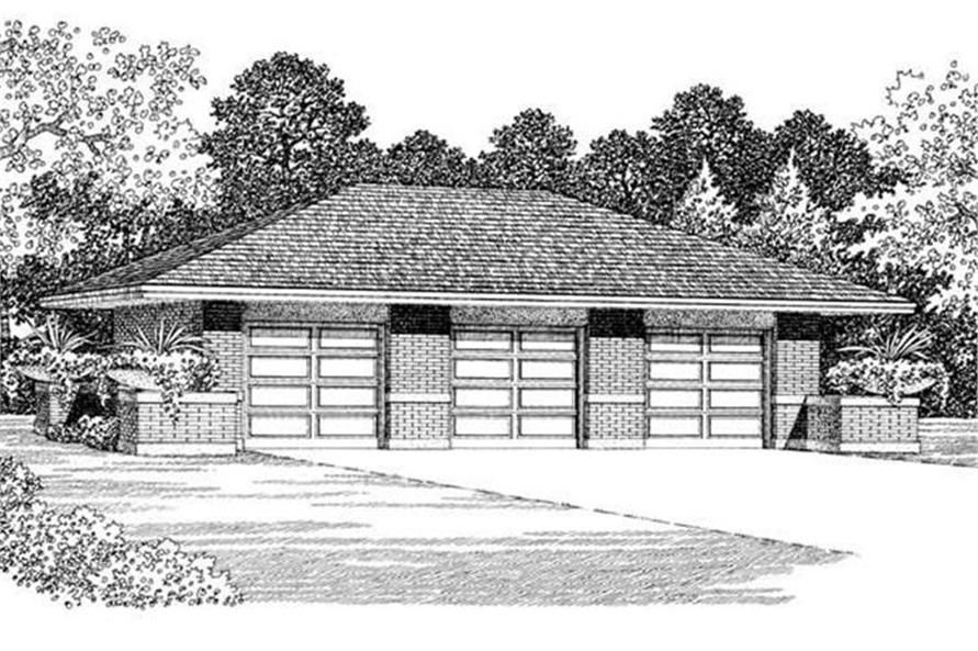 Front elevation of Garage plan (ThePlanCollection: House Plan #137-1022)