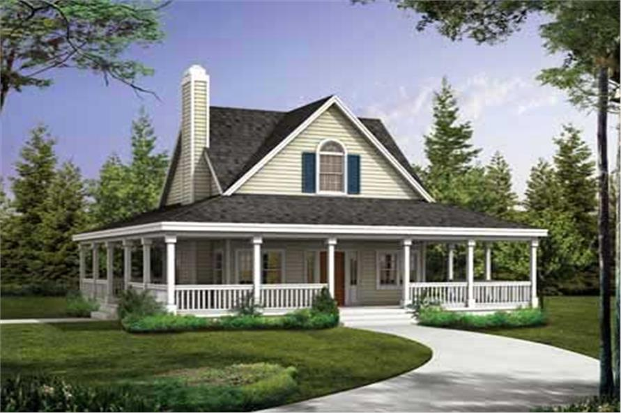 2-Bedroom, 1072 Sq Ft Country Home Plan - 137-1023 - Main Exterior