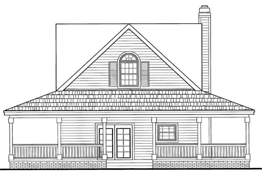 Home Plan Rear Elevation of this 2-Bedroom,1072 Sq Ft Plan -137-1023